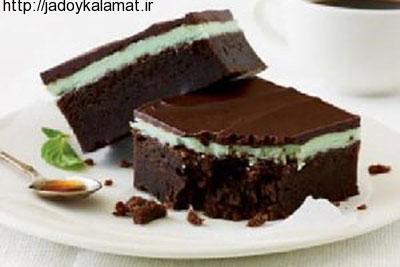 روش تهیه یک کیک شکلاتی خوش طعم با لایه رویی نعناع !