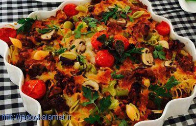 آموزش ماكارونی و پاستا با پنير پيتزا