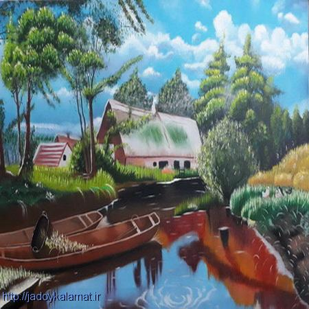تابلو نقاشی منظره ترکیبی رنگ روغن و اکریلیک با سبک رئال