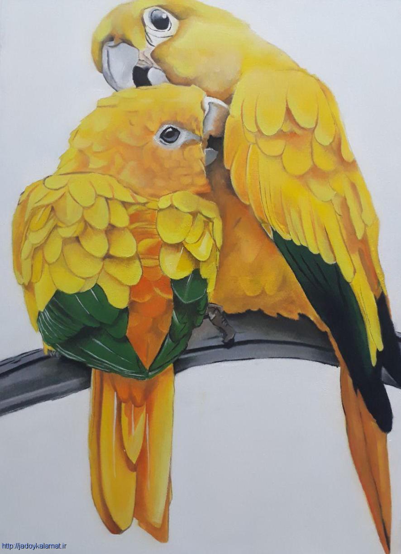 تابلو نقاشی رنگ روغن طوطی زرد با سبک رئال