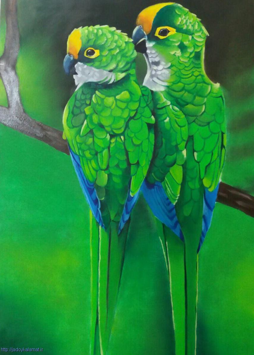 تابلو نقاشی طوطی سبز رنگ