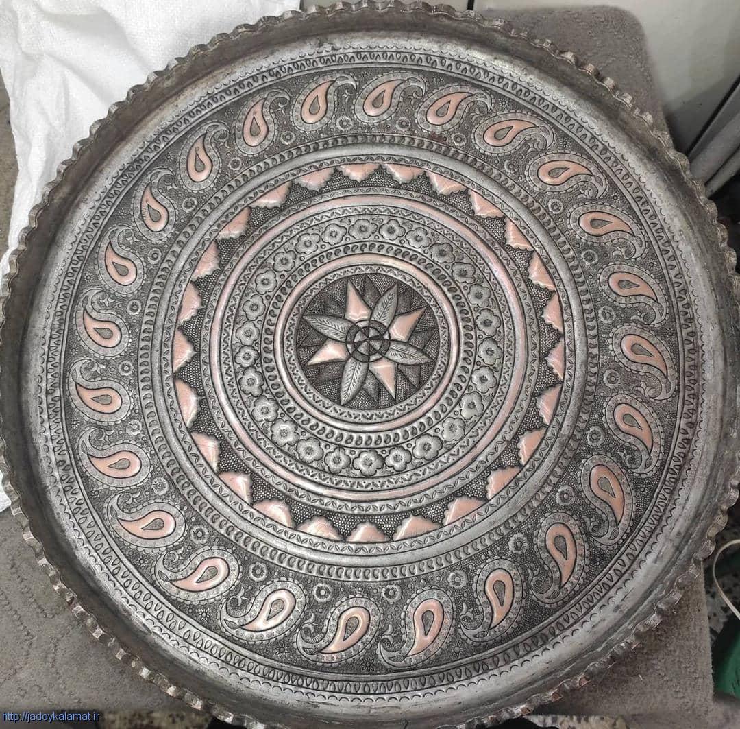 سینی قلمزنی شده اعلا گل و ترمه هنر اصفهان